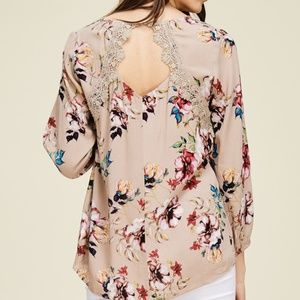 NWT CUT OUT LACE INSET BACK FLORAL BLOUSE TOP